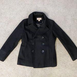Women's Michael Kors Black Wool Size Medium Peacoa
